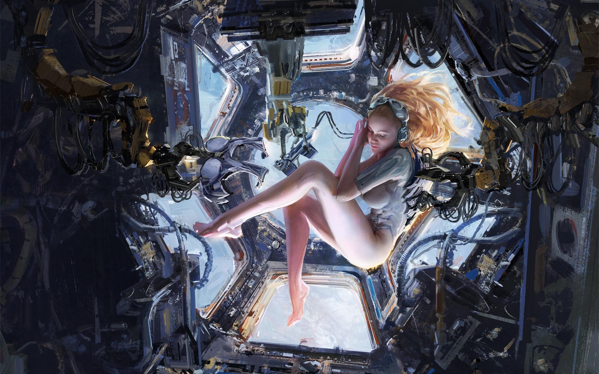 Обнаженная женщина в космосе космическая эротика